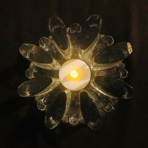 VTG Heavy Crystal Cut Glass Candle Holder